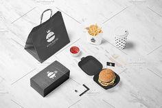 Royal Burger Logo Design + Patterns by Nadezda Gudeleva on @creativemarket