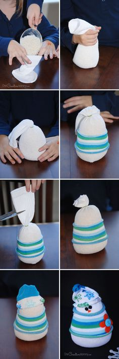 How to Build a Sock Snowman {Kids Craft and Winter Decor tutorial from One Creative Mommy}