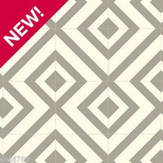 GREY AND WHITE GEOMETRIC VINYL FLOORING BUBBLEGUM 2,3 and 4M WIDTH GREAT QUALITY