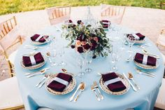 Dusty Blue, Burgundy & Blush Modern Vintage Wedding|Photographer: Kate Olson Photo