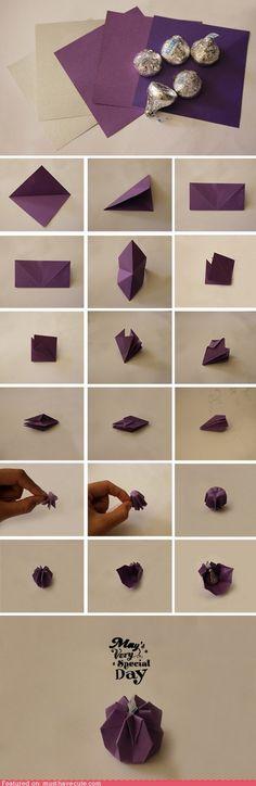 Wrap it: Paper origami chocolate kiss gift wrap idea