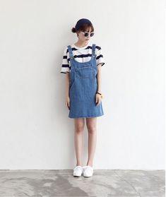 striped tshirt and jean dress Korea Fashion, Asian Fashion, Fashion Beauty, Girl Fashion, Fashion Looks, Fashion Design, Kpop Outfits, New Outfits, Casual Outfits