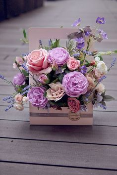 New birthday flowers roses bouquets floral arrangements 50 Ideas Purple Bouquets, Pink And Purple Flowers, Pink Roses, Flowers Roses Bouquet, Paper Flowers, Cut Flowers, Flower Box Gift, Flower Boxes, Arte Floral