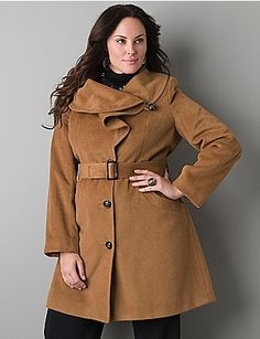 Full figure Ruffled collar coat | Lane Bryant - StyleSays