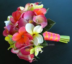Fuchsia and Citrus Real Touch Plumeria Bridal Bouquet. Could easily add shells to make it more beachy.