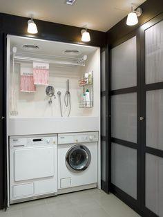 Rincón de limpieza en orden. Lavadora y secadora Míele. #Miele #Lavadero #Planchador #laundry