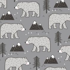 Mountain Bear  Woodland on Dark Grey fabric by caja_design on Spoonflower - custom fabric
