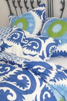356-NIP-ANTHROPOLOGIE-Yalova-Blue-QUEEN-Duvet-Cover-2-Standard-Shams-Suzani