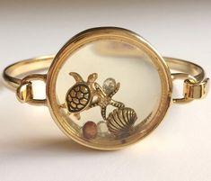 Gold Sea Life Starfish Memory Locket Bracelet Plated Island Beach Turtle Shell #FashionLeader #Locket#turtlejewelry