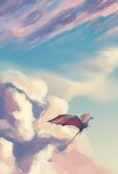 laurelhach: these are just an excuse to paint a bunch of clouds ngl kazilik Magic Creatures, Fantasy Creatures, Mythical Creatures, Fantasy World, Fantasy Art, Dragons, Dragon Artwork, Wings Of Fire, Fantasy Dragon
