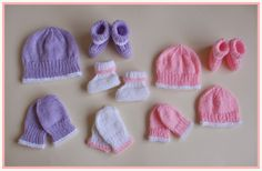 marianna's lazy daisy days: Premature & Newborn Baby Hat, Mittens & Bootees