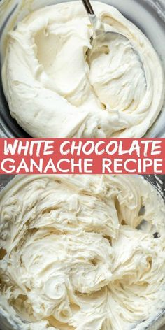 White Chocolate Ganache is made with just a few simple ingredients. The flavor i… White Chocolate Ganache is made with just a few simple ingredients. The flavor is clean but luscious. Use it to fill macarons, cakes, cookies or even cupcakes. Köstliche Desserts, Delicious Desserts, Dessert Recipes, Cupcake Filling Recipes, Gourmet Cupcake Recipes, Macaron Filling, Macaron Cake, Icing Recipes, White Chocolate Icing