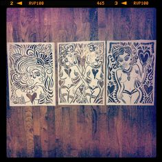 Nudie pinup stencils and hearts on wood
