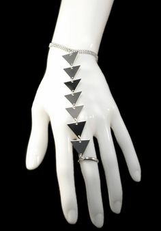 Geometric Triangle Slave Bracelet with Ring
