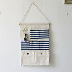 Hot Sale 7 Pockets Cotton Sundries Storage Hanging Wall Bag Door Wall Fabric Pouch Bag & Wardrobe Bedside Door Wall Vintage Bags #Affiliate