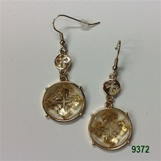 Clear Gold Round Crystal Medallion Wire Earrings