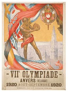 1920 Antwerp Olympics Primary Logo (1920) - A discus thrower in front of the flags of the competing nations