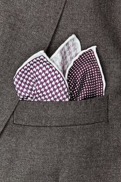 Imperial 4 Color Tone Houndstooth Combo Pocket Square Purple
