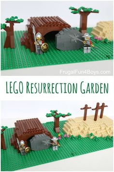 Build a LEGO Resurrection Garden - What a great Easter activity for kids! Build the Easter story with LEGO and then display it as a table centerpiece. images cross Build a LEGO Resurrection Garden - Frugal Fun For Boys and Girls Easter Activities For Kids, Lego Activities, Easter Story For Kids, Holy Week Activities, Summer Activities, Lego Bible, Resurrection Day, Lego Challenge, Easter Garden