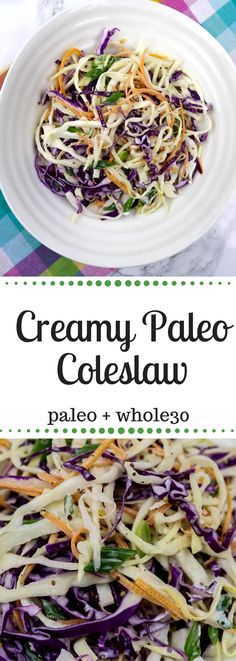 Creamy paleo coleslaw with healthier ingredients than typical coleslaw. This recipe is and Paleo approved and super quick with a great trick – spiralizing the cabbage! Coleslaw Recipe Easy, Creamy Coleslaw, Kfc Coleslaw, Coleslaw Salad, Paleo Side Dishes, Side Dishes For Bbq, Vegetable Side Dishes, Side Dish Recipes, Salads