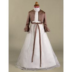 A-line Floor-length Satin  Organza Flower Girl Dress – EUR € 85.95