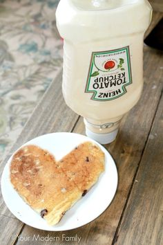 LOVE THIS - use a washed ketchup bottle to hold pancake batter