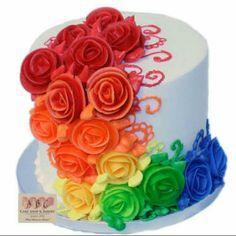 rainbow sheet cake 3063 rainbows cake and birthdays, rainbow cake recipe, homemade cake rainbow sheet cake, ruffle top rainbow cake crafty mama, sheet cake birthday cake ideas best happy birthday wishes 5th Birthday Cake, Birthday Cake With Flowers, Rainbow Birthday, Small Wedding Cakes, Wedding Cakes With Flowers, Cake Land, Frosting Flowers, Mothers Day Cake, Rainbow Flowers