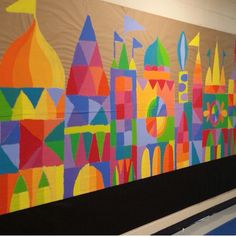 Cityscape Collaboration mural paper shapes on wood.... lots of ideas here!