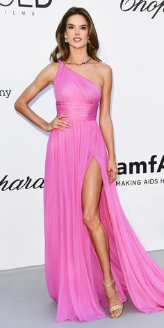 Look of the Day - Alessandra Ambrosio wowed in a draped pink Hilfiger Collection gown paired with Réné Caovilla heels.