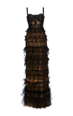 Beaded Lace Bustier Column Gown by MARCHESA for Preorder on Moda Operandi