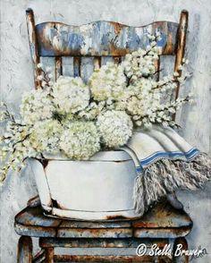 ✿Bouquet & Full Of Flower Basket✿ Stella Bruwer white enamel tub white lilacs white hydrangeas white towel with blue stripe on high back shabby blue chair Decoupage Vintage, Decoupage Paper, Vintage Paper, Vintage Art, Watercolor Flowers, Watercolor Paintings, Watercolours, Still Life Art, Paint Party