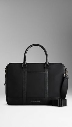 Black Crossbody Briefcase with London Leather Trim - Image 1