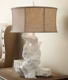 New Horchow White Driftwood Table Lamp Natural Coastal Beach Living Room Bedroom #Coastal_home #shabby_Chic #Natural_lighting #Traditional_home #Rustic_Modern #horchow #neiman_marcus #driftwood_lamp #architectural_digest