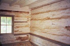 Boggs Farm, Log House Restoration, Whitewashed log