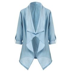 Morning Mist Waterfall Jacket (1,560 INR) ❤ liked on Polyvore featuring outerwear, jackets, waterfall jacket and blue jackets