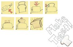 making toast- illustrating the process of making toast without words and only drawings. thinking Visual Thinking Strategies, Sketch Notes, Sketching, Toast, Workshop, Business, Drawings, Illustration, Atelier