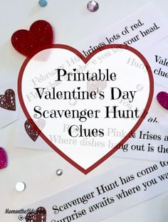 Plan A Special Surprise For Your Kids With Printable Valentine's Day Scavenger H. - Plan A Special Surprise For Your Kids With Printable Valentine's Day Scavenger Hunt Clues It's - Valentines Day Food, Valentine Day Boxes, Valentines Day Activities, Valentines Day Gifts For Him, Valentines Day Decorations, Valentine Day Crafts, Printable Valentine, Homemade Valentines, Valentine Wreath
