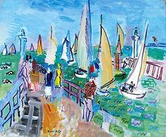 Raoul Dufy Régates à Deauville , Huile sur toile, 60 x . Raoul Dufy, Henri Matisse, Monet, Art Fauvisme, André Derain, French Artists, Art History, Modern Art, Watercolor Paintings