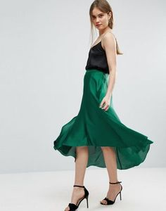 Buy ASOS Midi Skirt in Satin with Splices at ASOS. With free delivery and return options (Ts&Cs apply), online shopping has never been so easy. Get the latest trends with ASOS now. St Patrick's Day Outfit, Outfit Of The Day, Asos Skirts, Women's Skirts, Calf Length Skirts, Satin, Mannequin, High Waisted Skirt, Waist Skirt