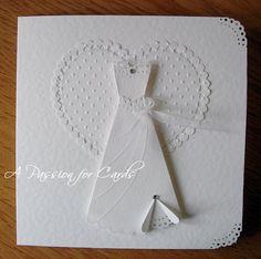 USING A MARTHA STEWART DOILY BORDER PUNCH AND SCALLOP CIRCLES  TO MAKE A WEDDING DRESS