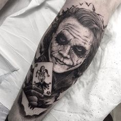 Joker tattoo is probably one of the most popular tattoos among the comic fans. People are fascinated by the Joker. Joker Tattoos, Batman Tattoo, Joker Card Tattoo, Clown Tattoo, Arm Tattoos, Body Art Tattoos, Cool Tattoos, Symbol Tattoos, I Tattoo