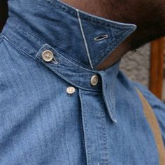1920s Levi's selvage chambray Sunset two-pocket workshirt - love how the collar is made. Would be great if men's dress shirts were designed like this, would make the collars lay better.