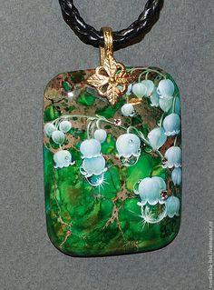 Купить Просто... Ландыши... - зелёный, лаковая миниатюра, роспись по камню, живопись маслом