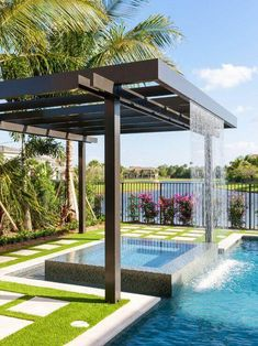 Get the perfect custom pergola shade for your delight. Find the pergola pool designs that suit the space you want to create! Backyard Pool Designs, Swimming Pools Backyard, Swimming Pool Designs, Backyard Pergola, Pergola Shade, Pergola Designs, Backyard Landscaping, Landscaping Ideas, Pergola Ideas