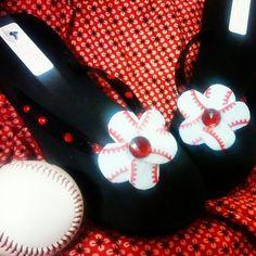 Baseball mom flip flops