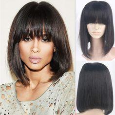 ciara bob bang straight hair wig on sale www.chinacharminghair.com info@chinacharminghair.com +8615066218692