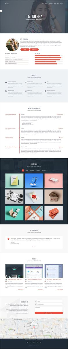 CODER BITS - Personal Bootstrap Portfolio Template - Parallax - bootstrap resume template