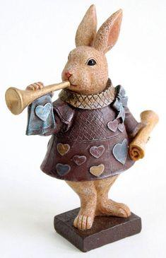 ガーデンオーナメントウサギのオブジェラッパうさぎの置物不思議の国のアリス玄関飾りインテリア雑貨