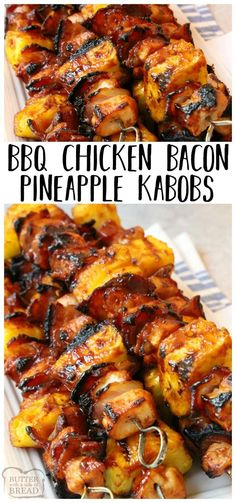 Tender chicken paired with tangy pineapple and smoky bacon all slathered with your favorite BBQ sauce. This BBQ Chicken Bacon Pineapple Kabobs recipe is one of my favorite grilled BBQ chicken dinners! Easy grilled chicken dinner recipe from Butter With A Grilled Bbq Chicken, Chicken Bacon, Breaded Chicken, Balsamic Chicken, Boneless Chicken, Roasted Chicken, Butter Chicken, Grilled Food, Grilling Chicken