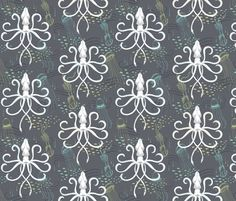 SMALL Ghostly Squid Damask fabric by pattysloniger on Spoonflower - custom fabric